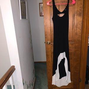 Wet Seal High Low Black White Maxi Dress Open M